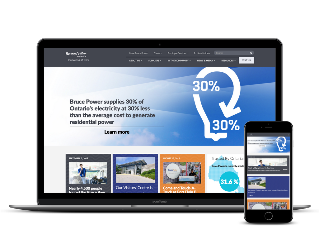 Bruce Power website on laptop and iphone