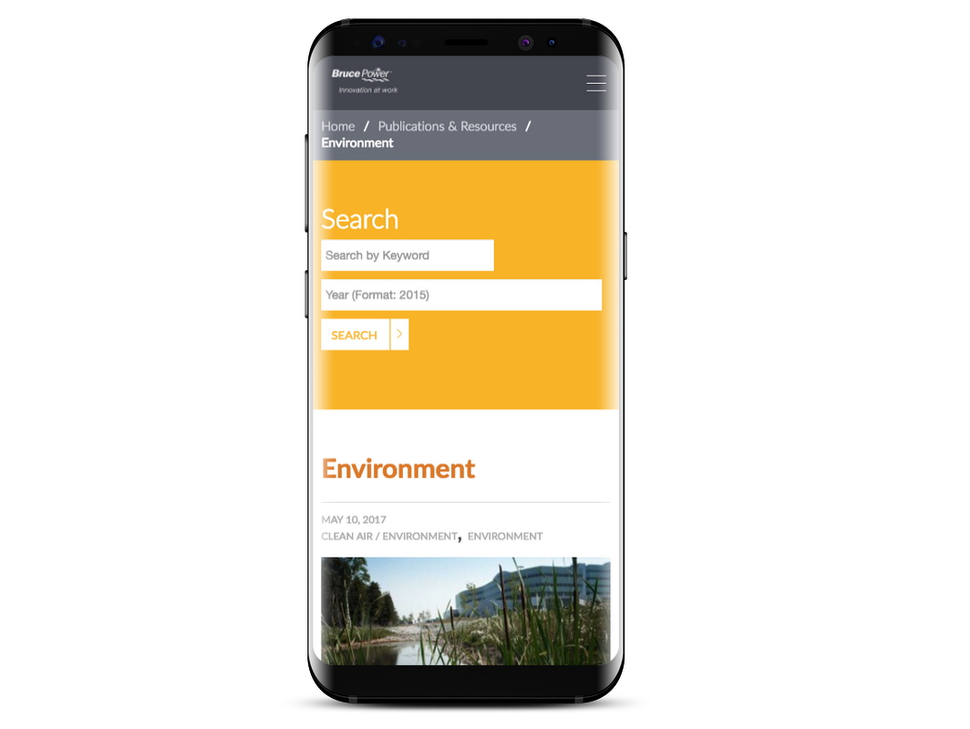 Bruce Power website on mobile device